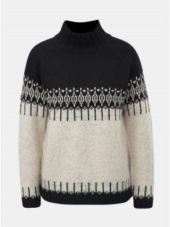 Černo-krémový vzorovaný svetr s rolákem ONLY Arlene