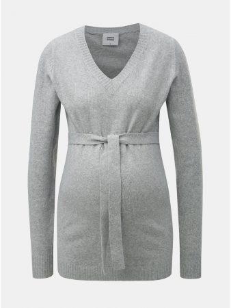 1de997bc928 Světle šedý těhotenský lehký svetr s páskem Mama.licious - Dámské svetry