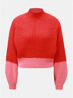 Růžovo-červený krátký svetr se stojáčkem Miss Selfridge 5e88c2a092