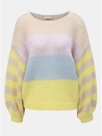 Béžovo-žlutý pruhovaný oversize svetr se širokými rukávy a s příměsí vlny  VILA Strive 252cd289f6