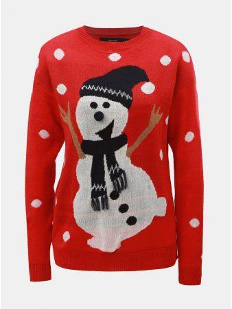 Červený svetr s motivem sněhuláka VERO MODA Snow - Dámské svetry a399be2155