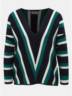 Zeleno-modrý pruhovaný oversize svetr s 3/4 rukávem ONLY