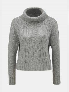 Šedý oversize krátký svetr s rolákem Miss Selfridge