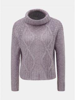 Fialový oversize krátký svetr s rolákem Miss Selfridge