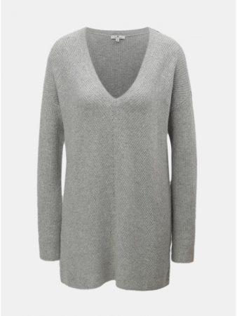 Šedý dámský volný svetr s véčkovým výstřihem Tom Tailor - Dámské svetry 076a24b040