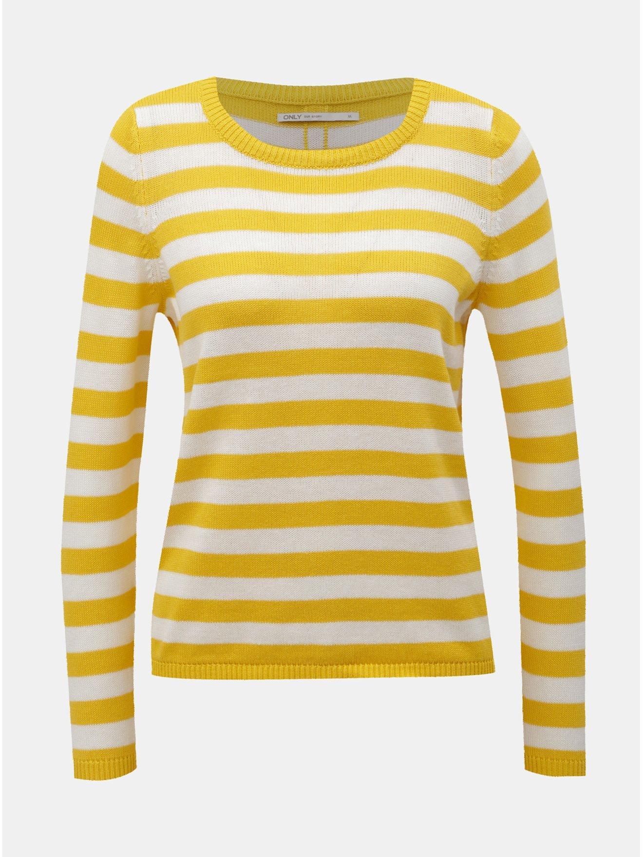 Bílo-žlutý pruhovaný svetr s knoflíky ONLY Dorthea - Dámské svetry 14f24d4b52