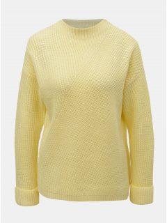 Béžovo-žlutý pruhovaný oversize svetr se širokými rukávy a s příměsí ... d2e2dff31b