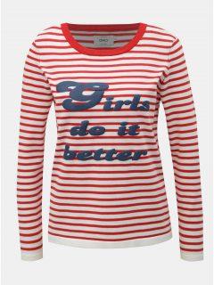 Bílo-červený lehký pruhovaný svetr s potiskem ONLY Birk
