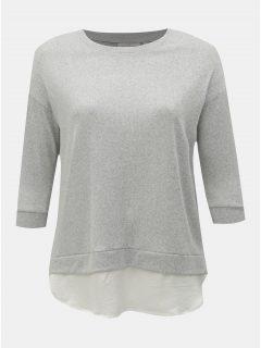 Světle šedý lehký svetr s košilovou vsadkou ONLY CARMACOMA Lyncis