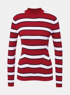 Bílo-červený dámský pruhovaný svetr Alcott