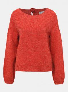 Červený žíhaný svetr s průstřihem Jacqueline de Yong Olivia