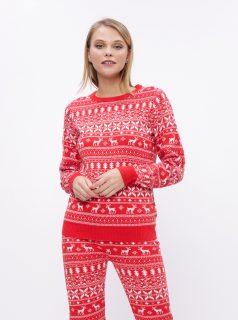 Červený svetr s vánočním motivem VILA Kosi