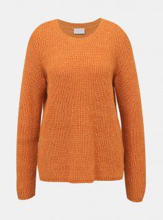 Oranžový svetr s příměsí vlny z alpaky VILA