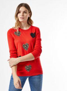 Červený vzorovaný svetr Dorothy Perkins