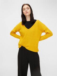 Žlutý svetr s příměsí vlny Pieces Babett