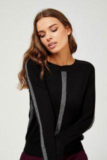 Moodo černý svetr se stříbrnými detaily