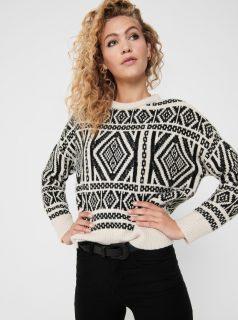 Krémový vzorovaný svetr s příměsí vlny ONLY Wilma