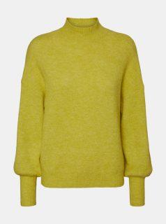 Žlutozelený svetr se stojáčkem VERO MODA
