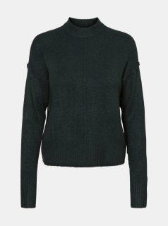 Tmavě zelený svetr se stojáčkem VERO MODA