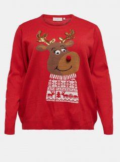 Červený svetr s vánočním motivem ONLY CARMAKOMA