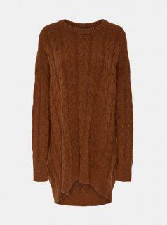 Hnědý oversize svetr s příměsí vlny ONLY Dora