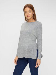 Šedý lehký těhotenský svetr Mama.licious