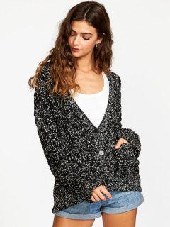 RVCA BRODY CARDIGAN black dámský svetr – černá