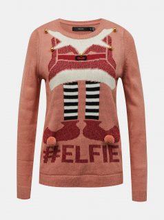 Růžový svetr s vánočním motivem VERO MODA