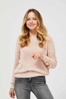 Moodo světle růžový svetr s madeirou