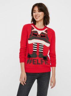 Červený svetr s vánočním motivem VERO MODA New Elfie