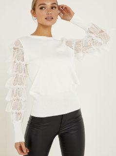 Bílý svetr s krajkovými rukávy QUIZ