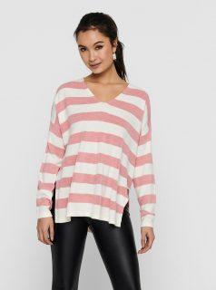 Bílo-růžový pruhovaný svetr s rozparky ONLY Amalia