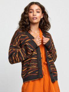 RVCA ADRIENNE CARDIGAN black dámský svetr – oranžová