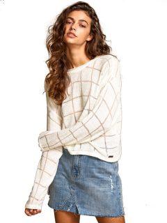 RVCA RANGE off white svetr dámský – bílá