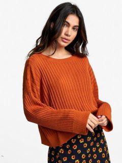 RVCA SYDNEY DARK ORANGE svetr dámský – oranžová