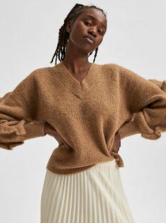 Hnědý vlněný svetr Selected Femme Alpaka Rut