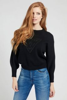 Guess černý svetr Front Logo Comfort Fit
