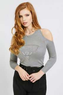 Guess šedý svetr Cut-Out Sleeves Triangle Logo