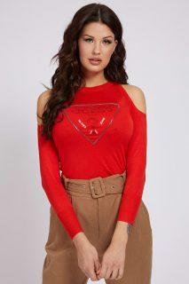 Guess červený svetr Cut-Out Sleeves Triangle Logo