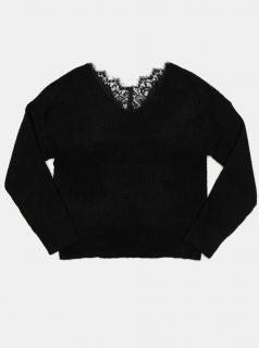 Černý svetr s krajkou na zádech ONLY-Aurola