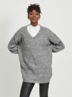 Šedý volný svetr s příměsí vlny z alpaky .OBJECT-Holly