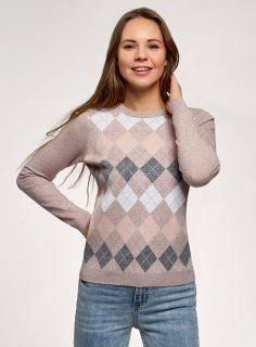 Pulovr pletený s kosočtverci OODJI