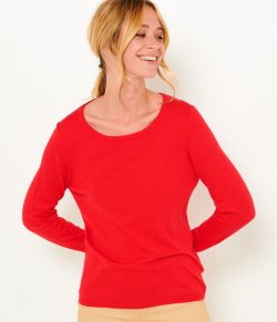 Červený lehký basic svetr CAMAIEU
