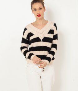 Černo-růžový pruhovaný svetr s příměsí lnu CAMAIEU