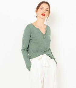 Zelený lněný lehký svetr CAMAIEU