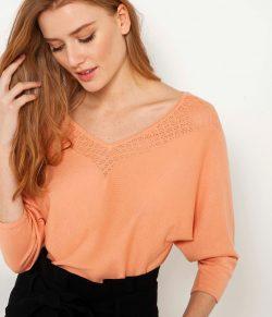 Meruňkový lehký svetr CAMAIEU