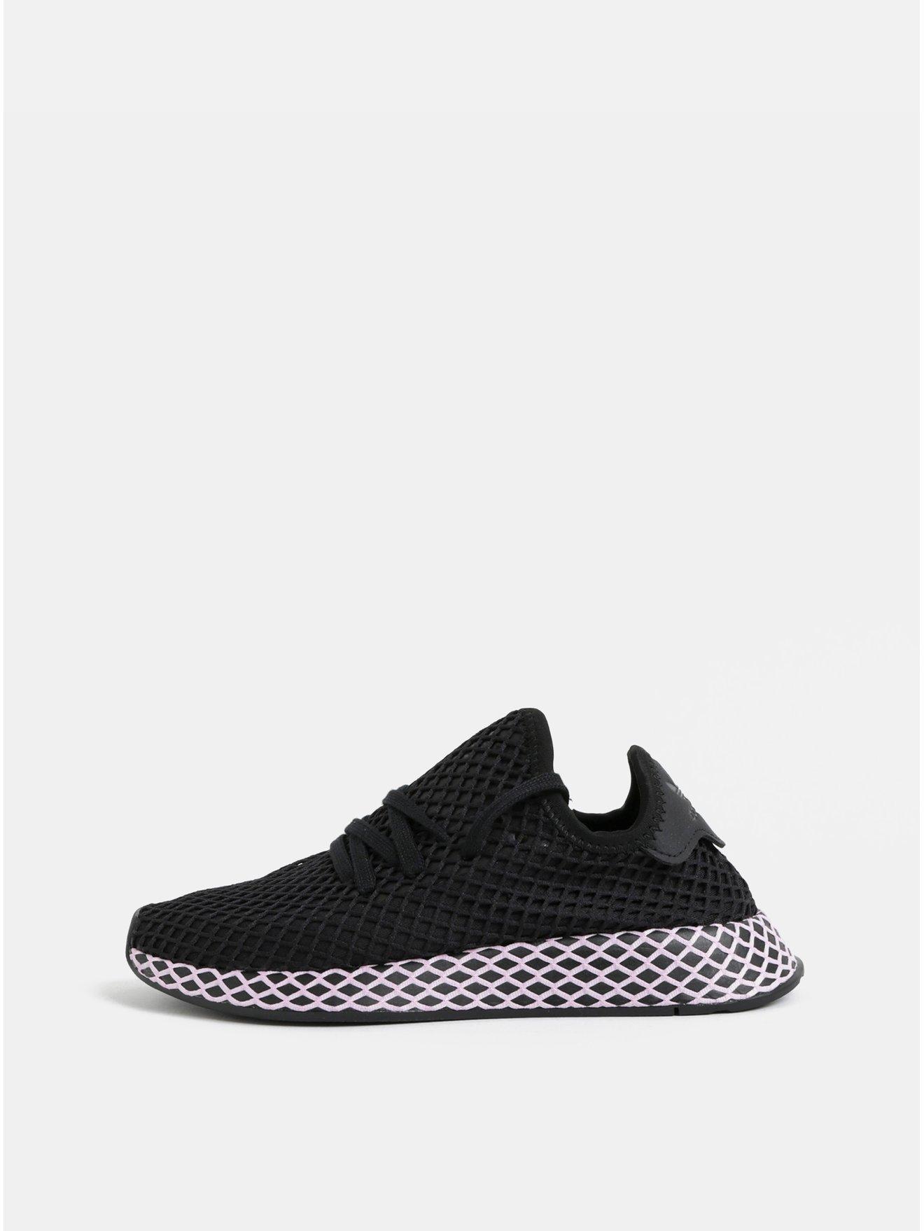 Růžovo-černé dámské síťované tenisky adidas Originals Deerupt - Dámské  tenisky