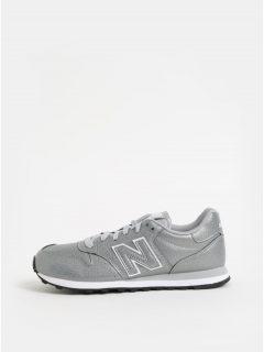 Dámské tenisky ve stříbrné barvě s potiskem na patě New Balance