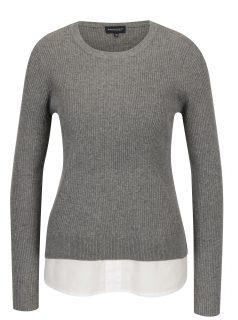 Světle šedý dámský top s všitou košilí 2v1 Broadway Natalina