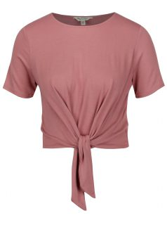 Růžový crop top s uzlem Miss Selfridge